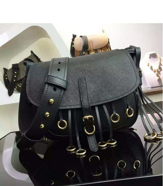 Prada Cross Veins Black Leather Shoulder Bag
