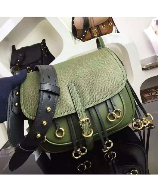 Prada Cross Veins Dark Green Leather Shoulder Bag