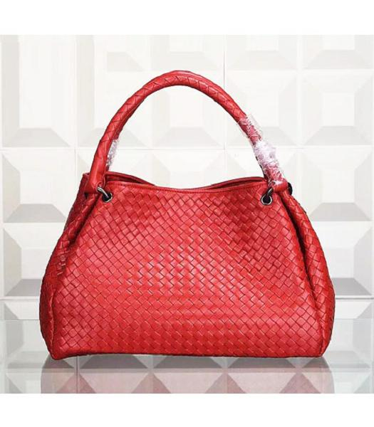 Bottega Veneta Woven Handle Bag Orange Red