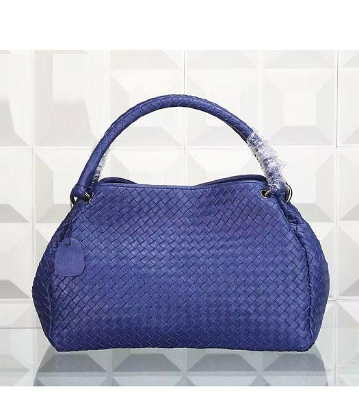 Bottega Veneta Woven Handle Bag Dark Blue