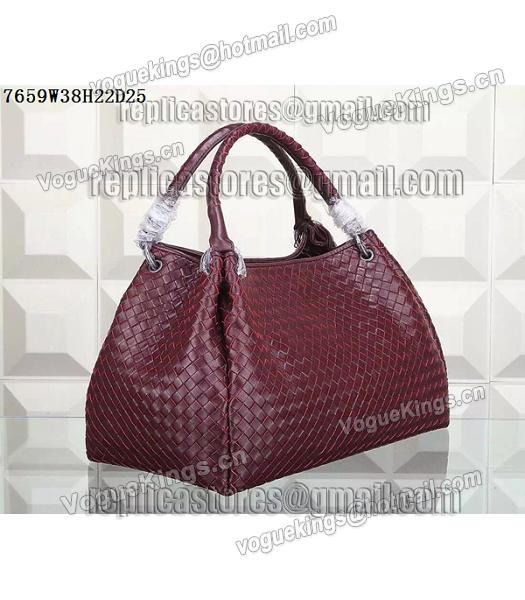 Bottega Veneta Woven Handle Bag Jujube Red-1