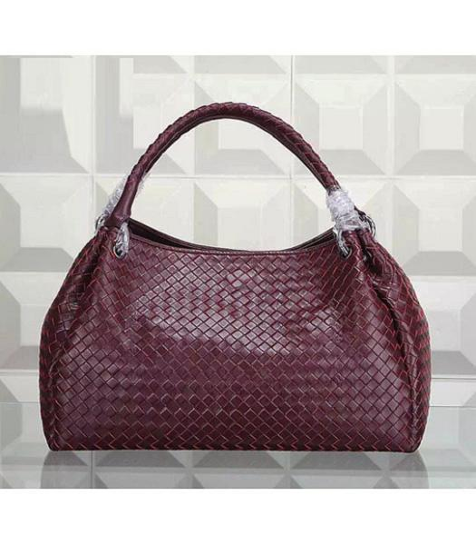 Bottega Veneta Woven Handle Bag Jujube Red