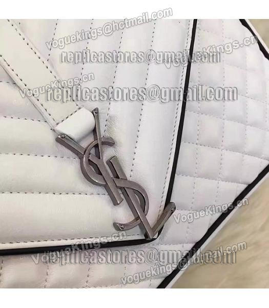 YSL Kate Monogram 31cm White Leather Quilted Chains Bag-3