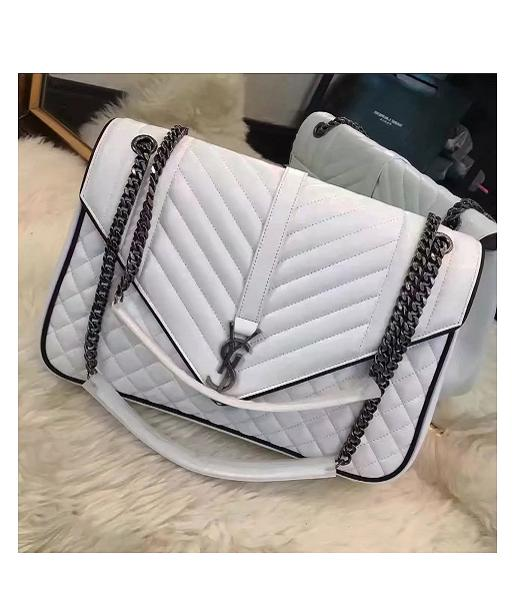 YSL Kate Monogram 31cm White Leather Quilted Chains Bag