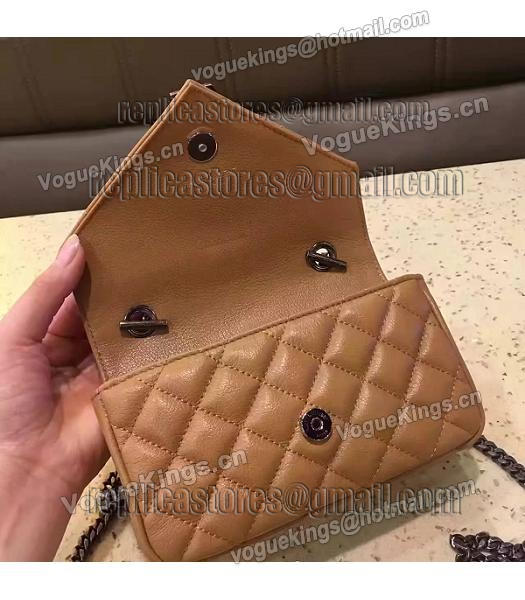 YSL Envelop Satchel Beige Leather Quilted Chains Mini Bag-4