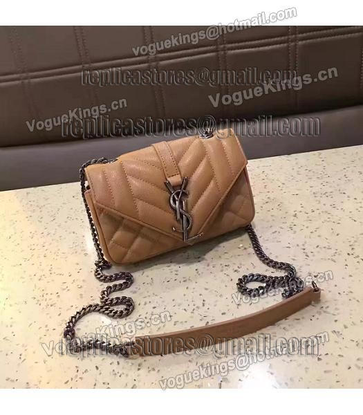 YSL Envelop Satchel Beige Leather Quilted Chains Mini Bag-7