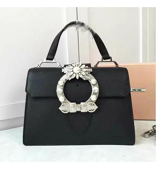 d10cce8aa391 Miu Miu Black Original Leather Diamonds 28cm Tote Bag - Replica Handbags