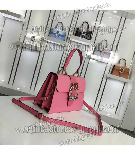 Miu Miu Cherry Pink Leather Colorful Diamonds 28cm Tote Bag-1
