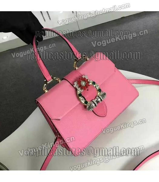 Miu Miu Cherry Pink Leather Colorful Diamonds 28cm Tote Bag-4