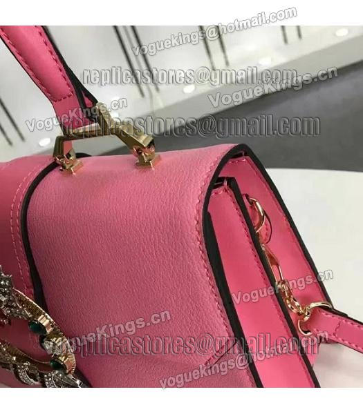 Miu Miu Cherry Pink Leather Colorful Diamonds 28cm Tote Bag-5