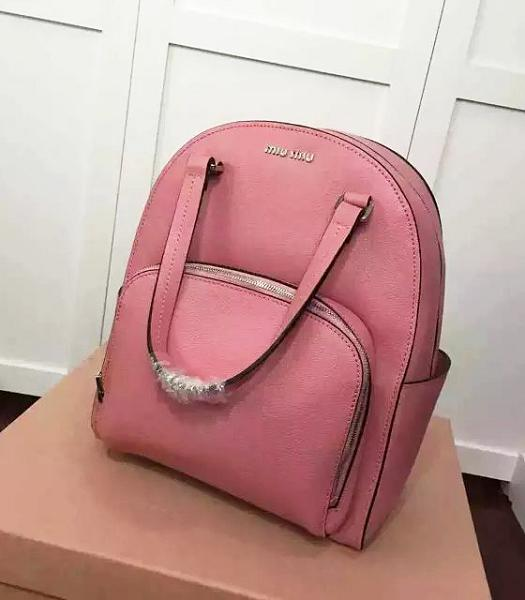 Miu Miu New Style Pink Original Leather Backpack