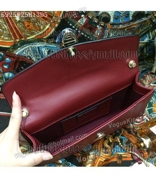 Bvlgari Wine Red Original Leather 25cm Chains Bag-1