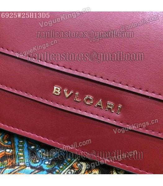 Bvlgari Wine Red Original Leather 25cm Chains Bag-3