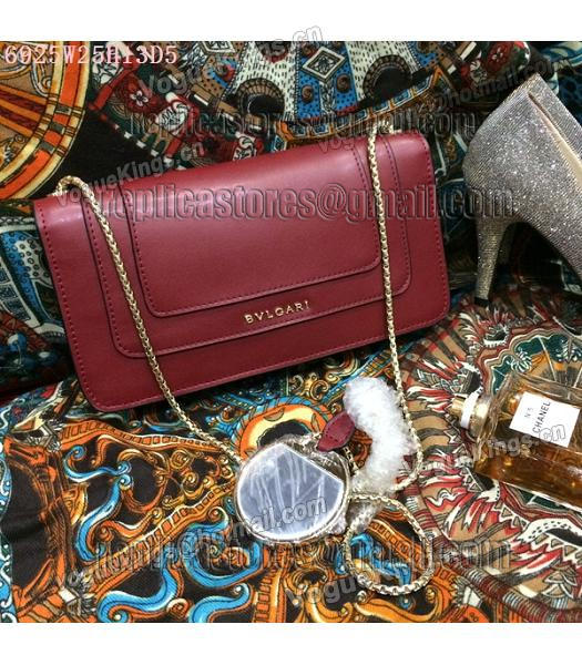 Bvlgari Wine Red Original Leather 25cm Chains Bag-5