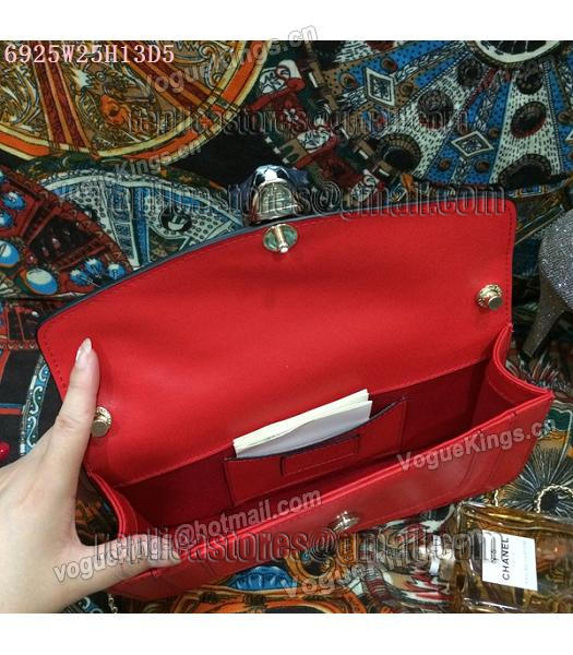 Bvlgari Red Original Leather 25cm Chains Bag-2