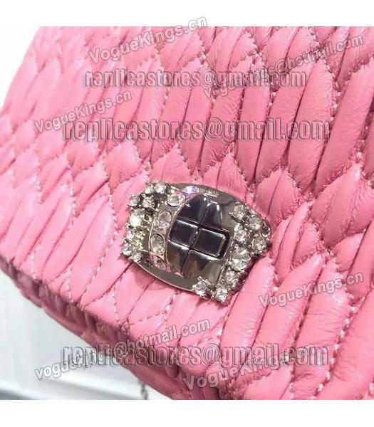 Miu Miu Matelasse Original Leather Diamonds Small Bag Pink-4