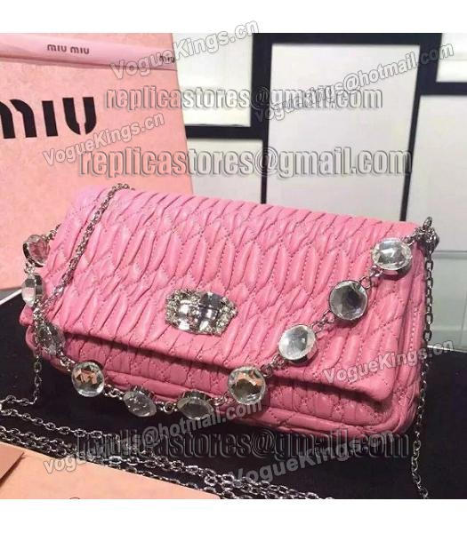 Miu Miu Matelasse Original Leather Diamonds Small Bag Pink-6