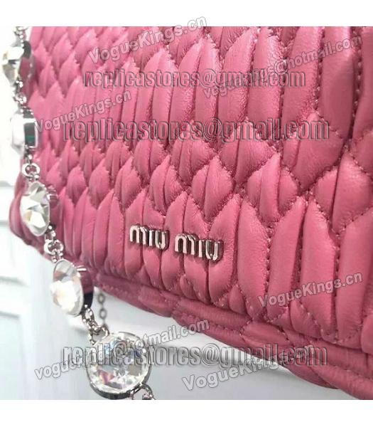 Miu Miu Matelasse Original Leather Diamonds Small Bag Pink-7