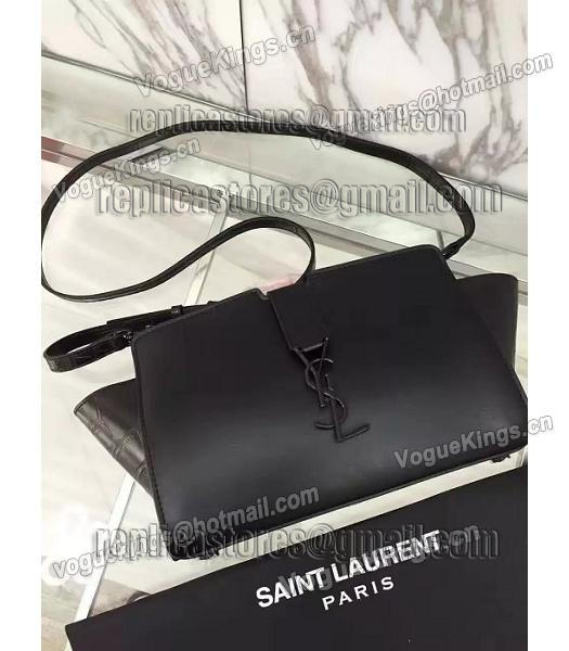 YSL Black Imported Calfskin Leather Shoulder Bag Black Hardware-2