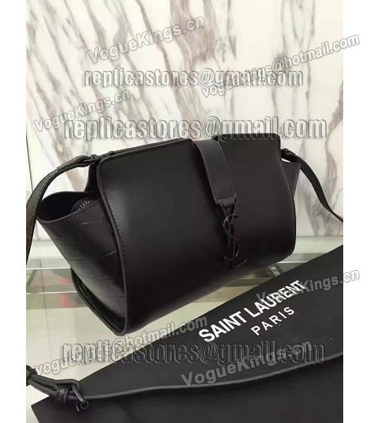YSL Black Imported Calfskin Leather Shoulder Bag Black Hardware-3