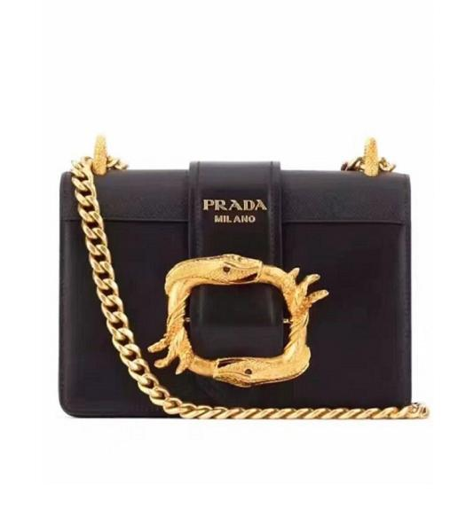Prada Black Original Leather Golden Chains Small Bag