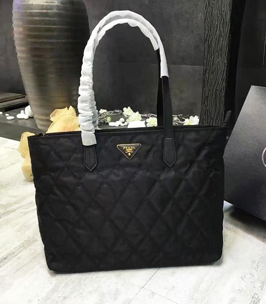 Prada Original Canvas With Leather Quilted Tote Bag Black