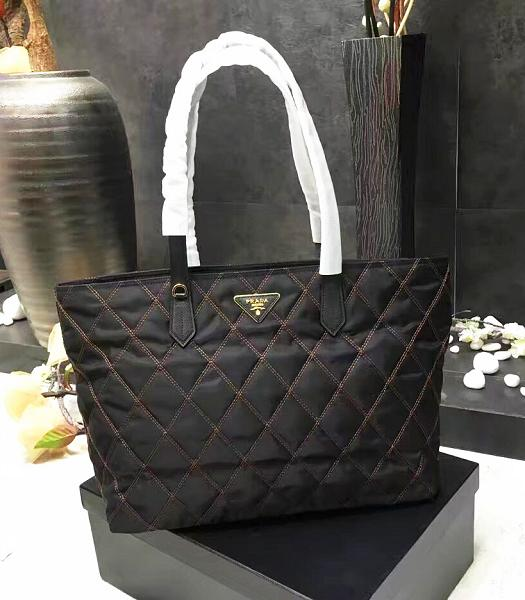 Prada New Original Canvas With Leather Quilted Tote Bag Black