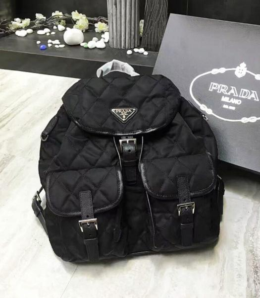 Prada Original Canvas With Leather Quilted Backpack Black