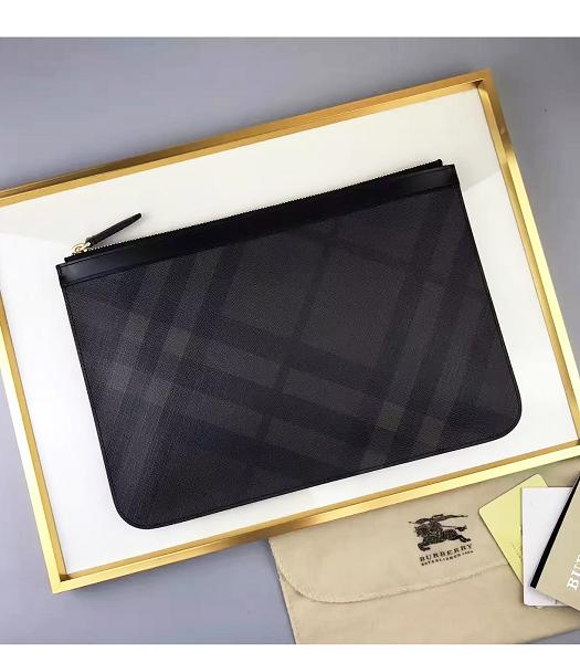 Burberry New Style Checks Zipper Pouch Black