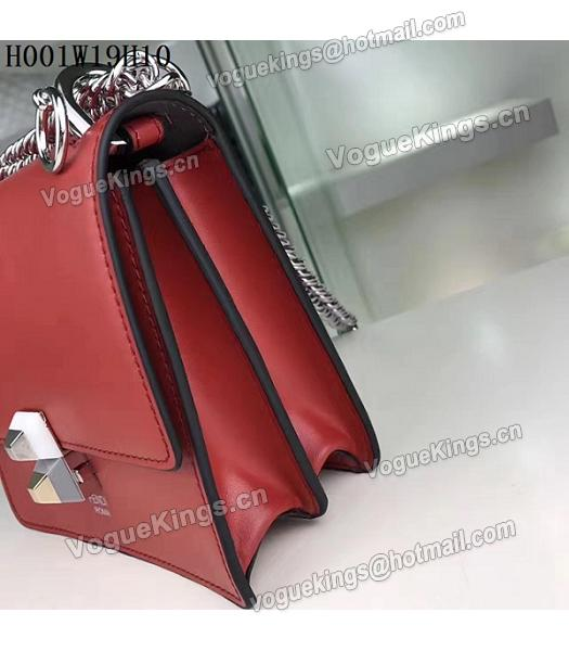 Fendi Latest Red Leather Chains Shoulder Bag-4