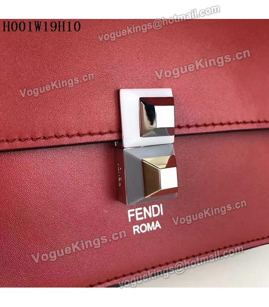 Fendi Latest Red Leather Chains Shoulder Bag-5