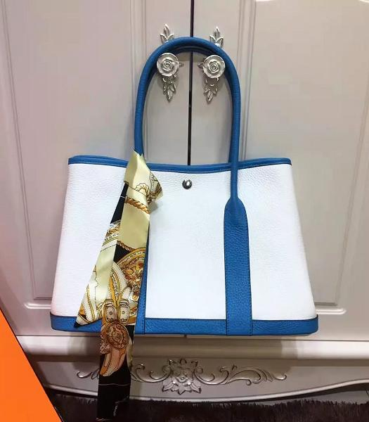 Hermes 36cm Litchi Veins Leather Garden Party Tote Bag White