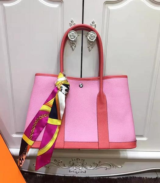 Hermes 36cm Litchi Veins Leather Garden Party Tote Bag Pink