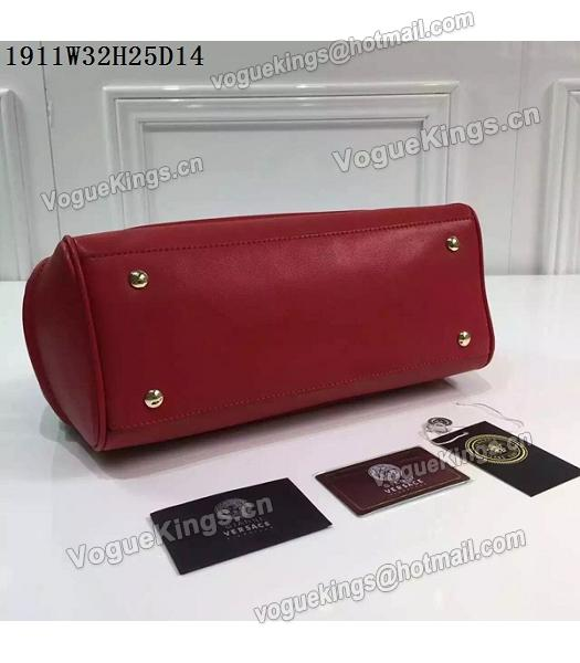 Versace Palazzo Empire Leather Top Handle Bag Red-6
