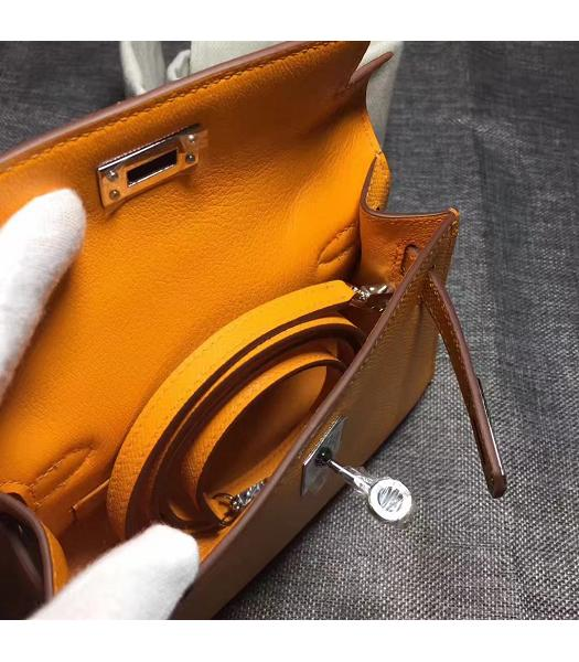 Hermes Kelly 20cm Yellow Original Leather Mini Tote Bag Silver Hardware-2