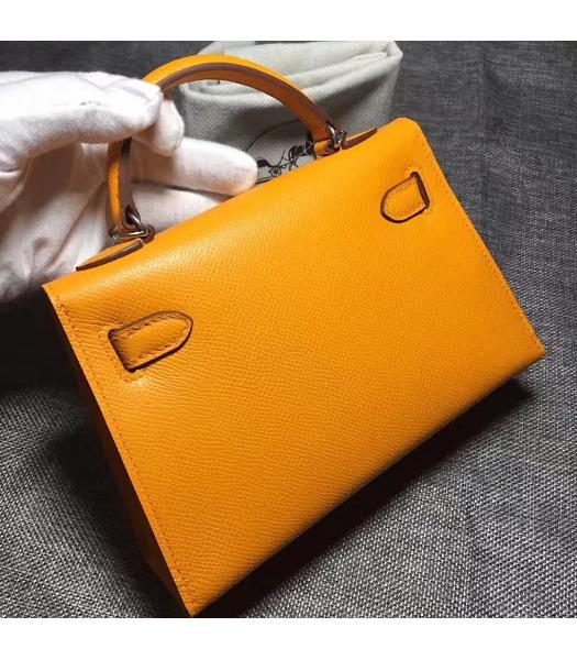 Hermes Kelly 20cm Yellow Original Leather Mini Tote Bag Silver Hardware-4