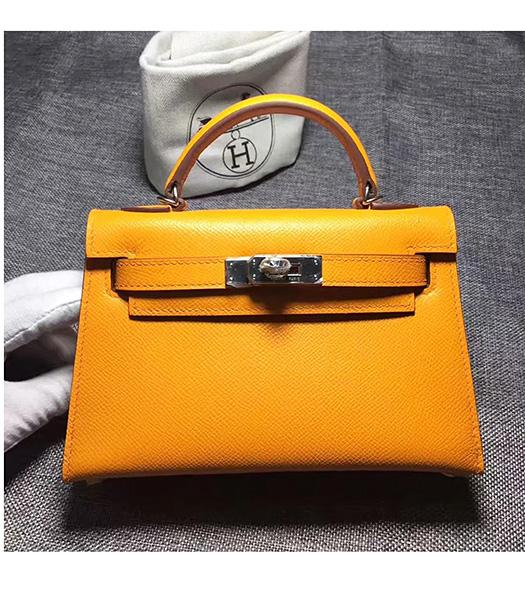 Hermes Kelly 20cm Yellow Original Leather Mini Tote Bag Silver Hardware