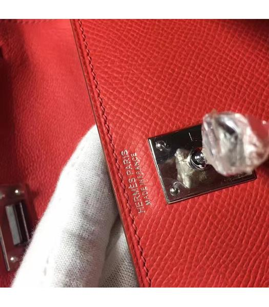 Hermes Kelly 20cm Red Original Leather Mini Tote Bag Silver Hardware-4