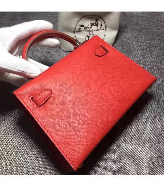 Hermes Kelly 20cm Red Original Leather Mini Tote Bag Silver Hardware-6