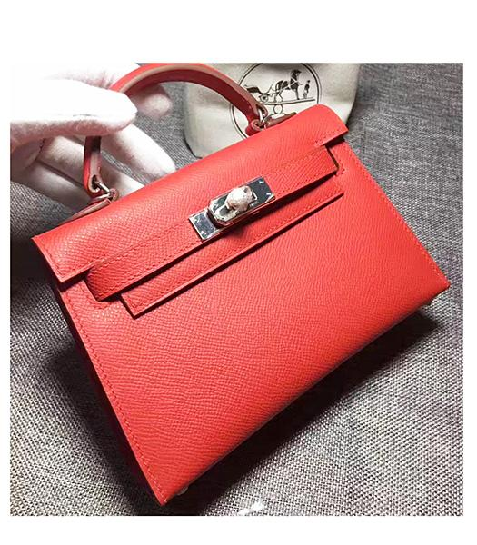 Hermes Kelly 20cm Red Original Leather Mini Tote Bag Silver Hardware