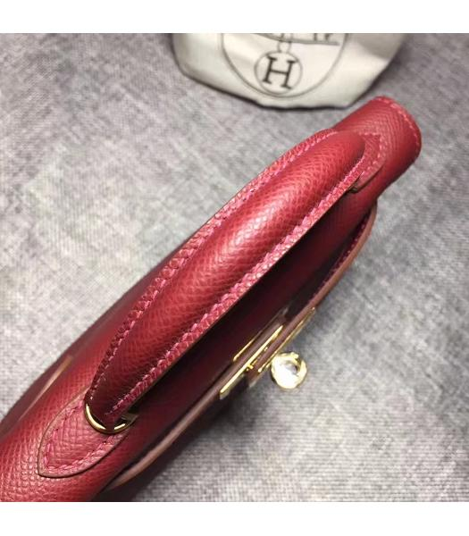 Hermes Kelly 20cm Wine Red Original Leather Mini Tote Bag Golden Hardware-4
