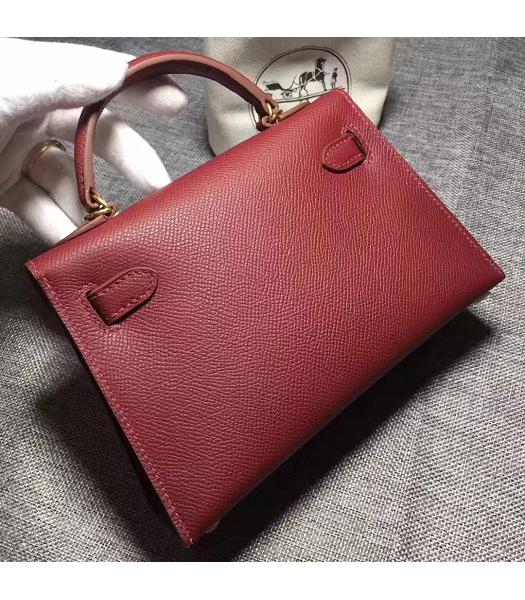 Hermes Kelly 20cm Wine Red Original Leather Mini Tote Bag Golden Hardware-5