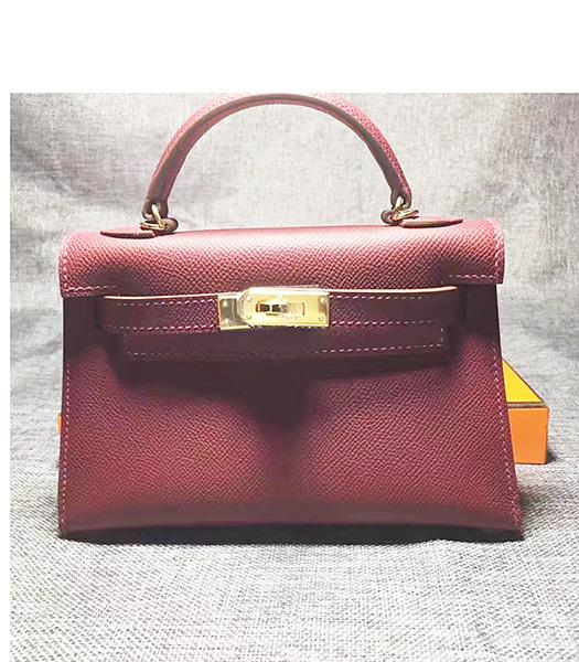 Hermes Kelly 20cm Wine Red Original Leather Mini Tote Bag Golden Hardware