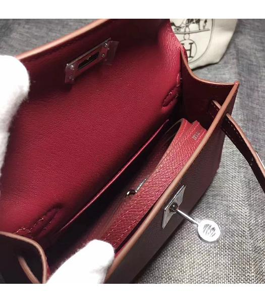 Hermes Kelly 20cm Wine Red Original Leather Mini Tote Bag Silver Hardware-2