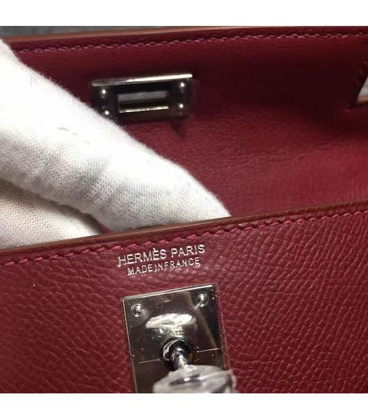 Hermes Kelly 20cm Wine Red Original Leather Mini Tote Bag Silver Hardware-3