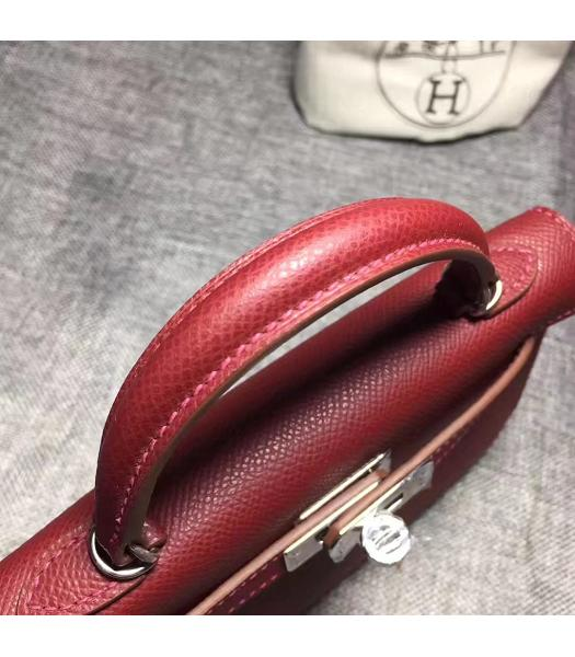 Hermes Kelly 20cm Wine Red Original Leather Mini Tote Bag Silver Hardware-4