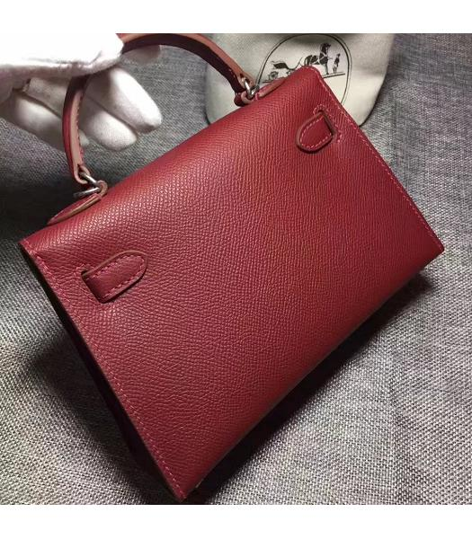 Hermes Kelly 20cm Wine Red Original Leather Mini Tote Bag Silver Hardware-5