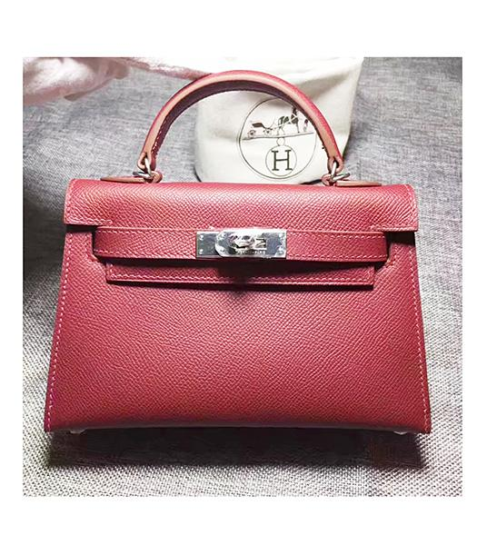 Hermes Kelly 20cm Wine Red Original Leather Mini Tote Bag Silver Hardware