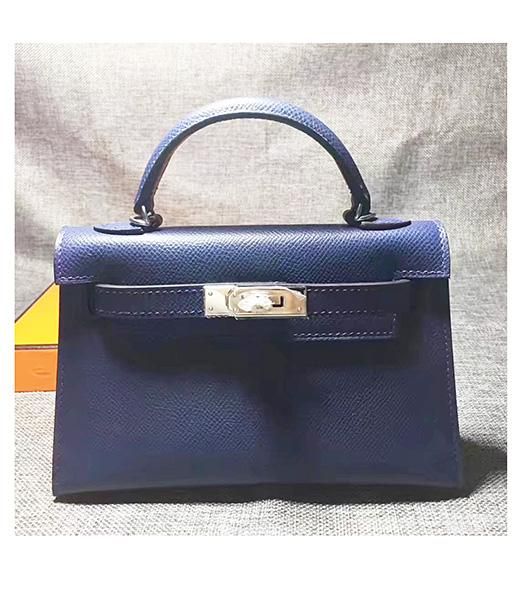 Hermes Kelly 20cm Sapphire Blue Original Leather Mini Tote Bag Silver Hardware