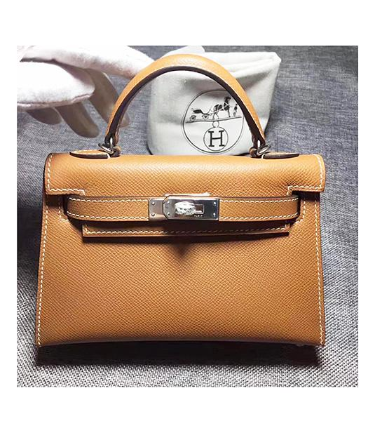 Hermes Kelly 20cm Coffee Original Leather Mini Tote Bag Silver Hardware
